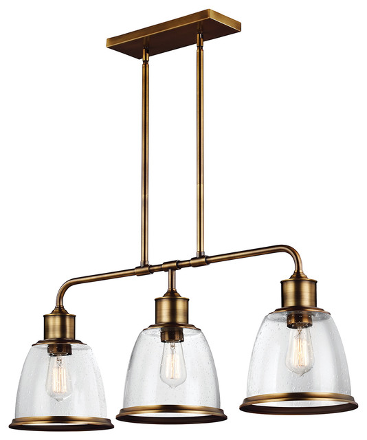 3-Light Island Chandelier, Aged Brass