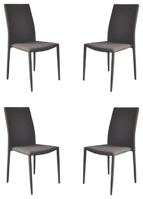 Modern And Sleek Fabric Dining Room Chairs, Set Of 4, Gray.