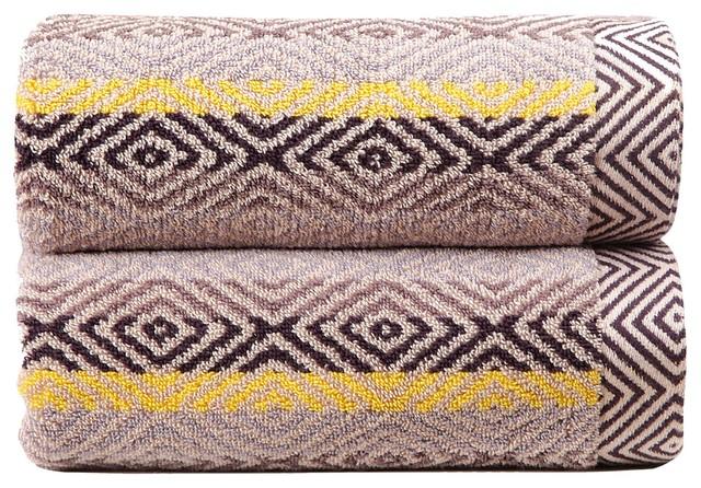 Cotton Beach Towel, Multicoloured, Diamonds
