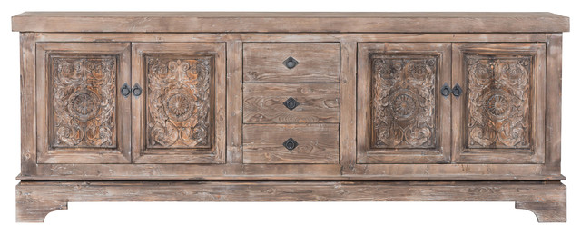 Allen Reclaimed Pine 3 Drawer 4 Door Sideboard by Kosas Home by Kosas