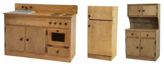 Children\'s Kitchen Play Set, Amish Handmade Children\'s Oak Kitchen Furniture