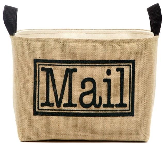 Mail Burlap Storage Bin.