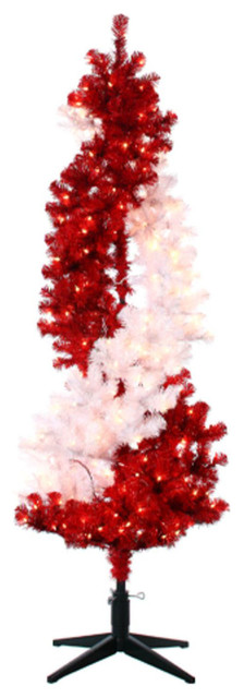 6' Peppermint Twist Pre-Lit Red and White Rotating Artificial ...