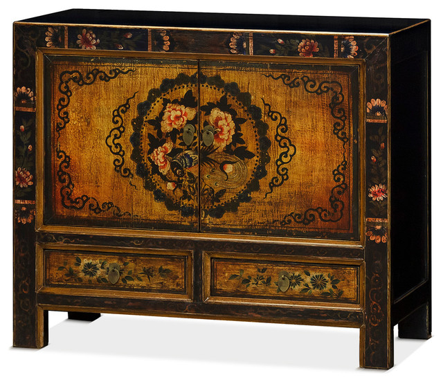 Merveilleux Distressed Chinese Cabinet With Peacock And Floral Art