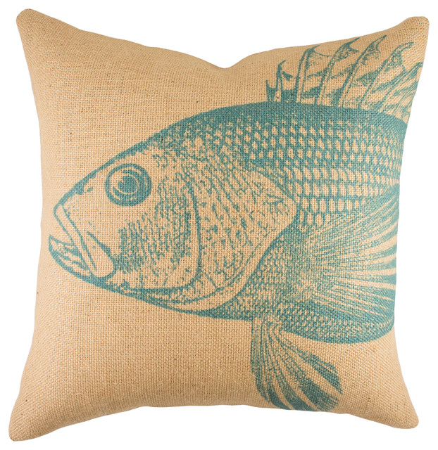 Fish burlap pillow turquoise beach style decorative for Fish throw pillows