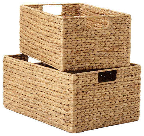 Water Hyacinth Bins contemporary baskets