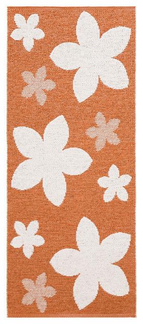 Flower Woven Vinyl Floor Cloth, Rust, 150x250 cm