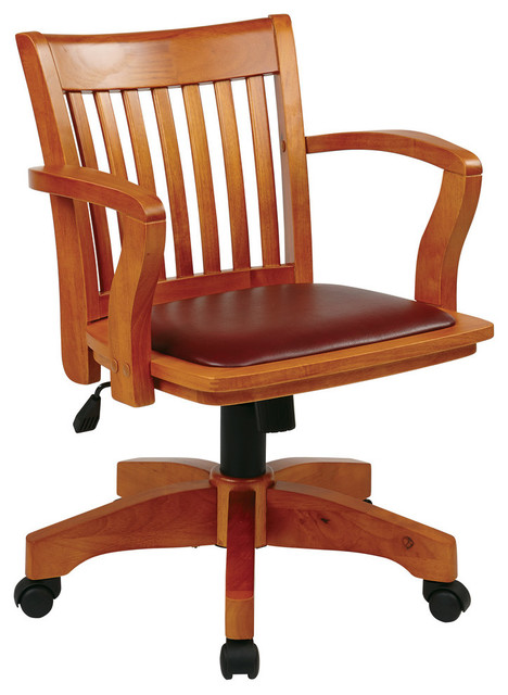 Deluxe Wood Banker S Chair With Vinyl Padded Seat