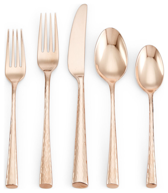 lenox marchesa imperial caviar 5 piece place setting rose gold contemporary flatware and. Black Bedroom Furniture Sets. Home Design Ideas