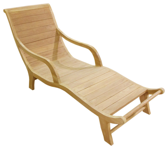 teak curved resting lounger asian outdoor chaise