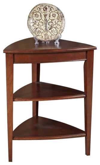 Solid Hardwood Shield Tier Table Transitional Side Tables And