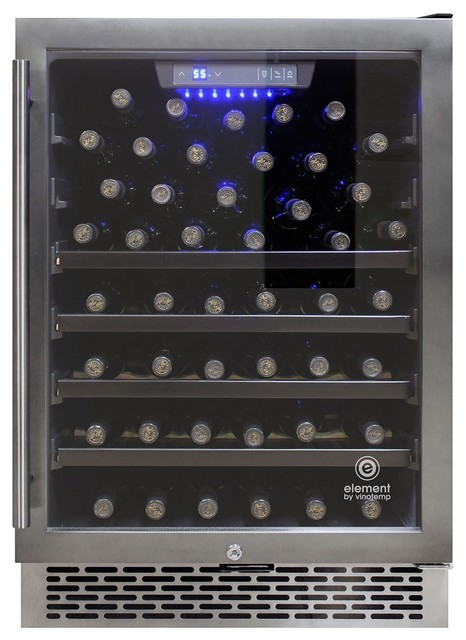 54-Bottle Smoked Black Stainless Steel Wine Cooler.