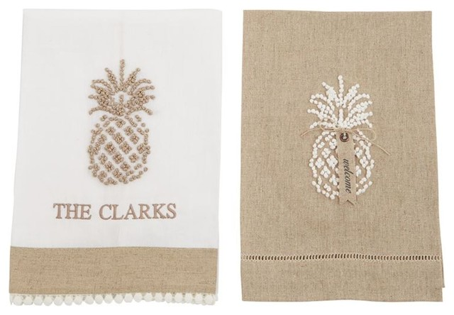 Pineapple Taupe And White Linen Bathroom Guest Towels, Set Of 2