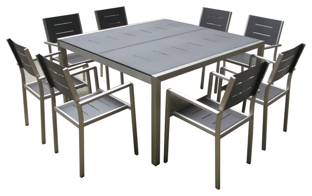 Outdoor Wicker New Aluminum 9 Piece Square Dining Table And Chairs Set
