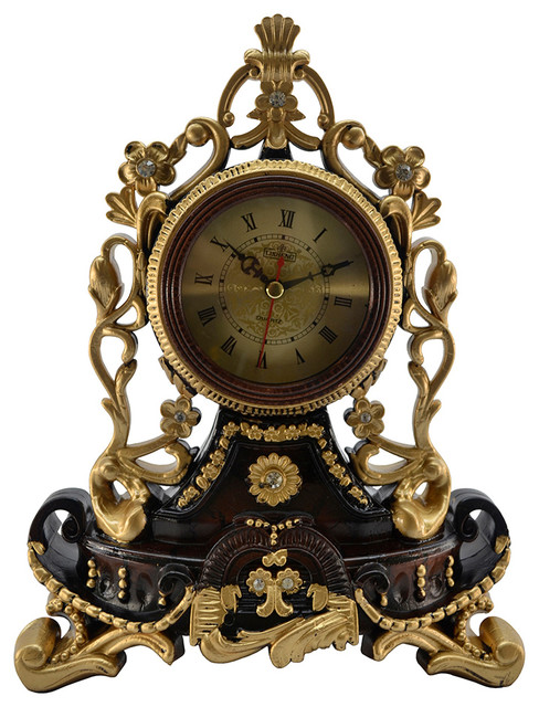Round Decorative Polyresin Hand Painted Mantel Table Clock W/ Golden Face  Victorian Desk