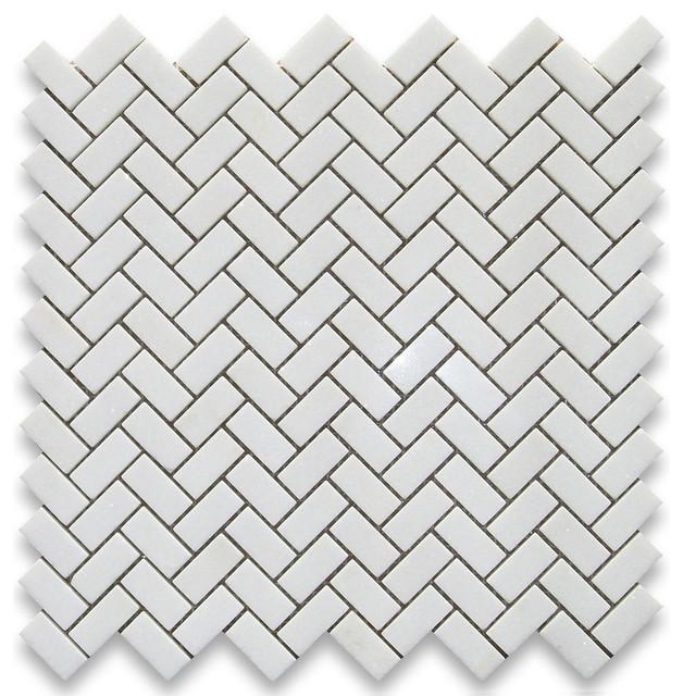 12 X12 Thos White Herringbone Mosaic Tile Polished Chip Size 5