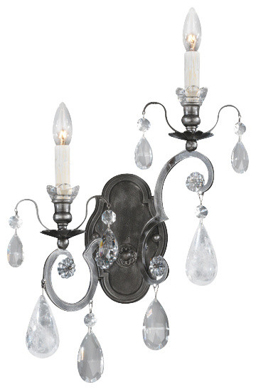 Antique Pewter Wall Sconces : Swarovski Lighting Schonbek Lighting 3558-47CL Renaissance Antique Pewter Rock Wall Sconce ...