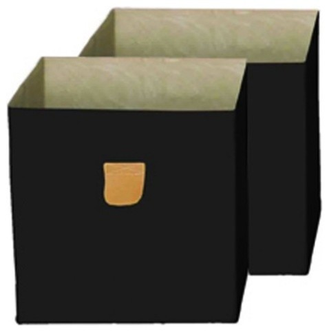 Stor&x27;it, Storage Box, Set Of 2 With A Pu Leather Strap, Black.