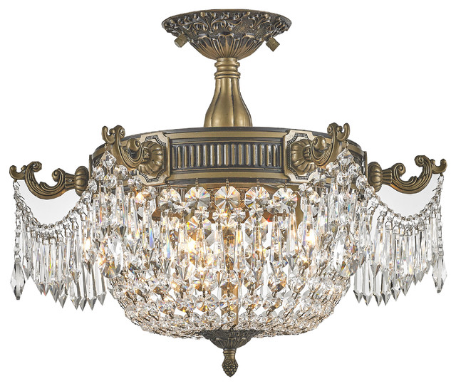 Ont 3 Light Antique Bronze Crystal Semi Flush Mount Ceiling Clear Cry