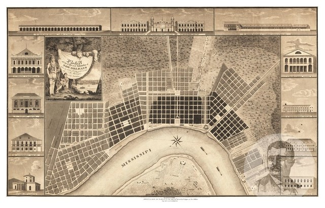 vintage new orleans map Old Map Of New Orleans Louisiana 1817 Vintage Map Art Print vintage new orleans map
