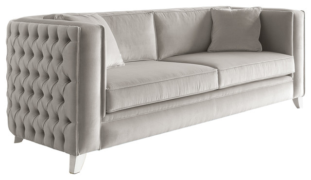 Buttoned Velvet Finished Sofa, 2-Seat