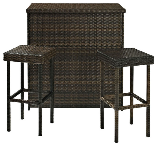 Palm Harbor Outdoor Wicker Bar - Transitional - Outdoor Bar Stools ...
