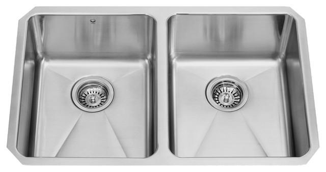 "Vigo 29""x18"" Newhall Stainless Steel Double Bowl Undermount Kitchen Sink."