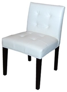 Low back tufted leather dining chair contemporary for Modern low back dining chairs