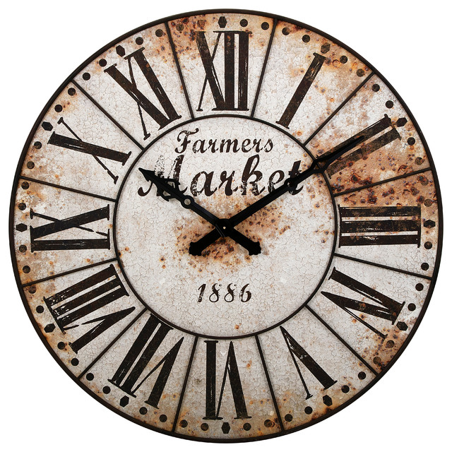 Farmers Market Oversized Wall Clock - Farmhouse
