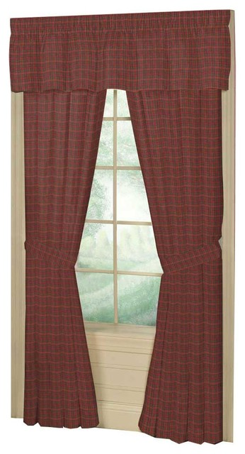 Red Plaid And Green,black Lines Window Curtain 40x80 Pl;10 Lp.