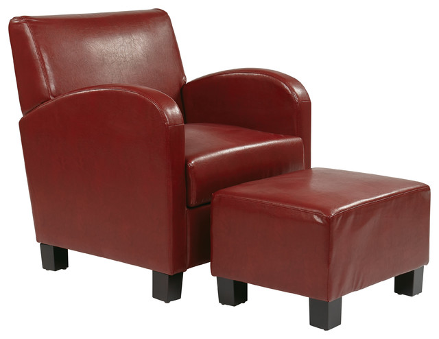 Crimson Red Faux Leather Club Chair With Ottoman  Contemporary Armchairs And Accent