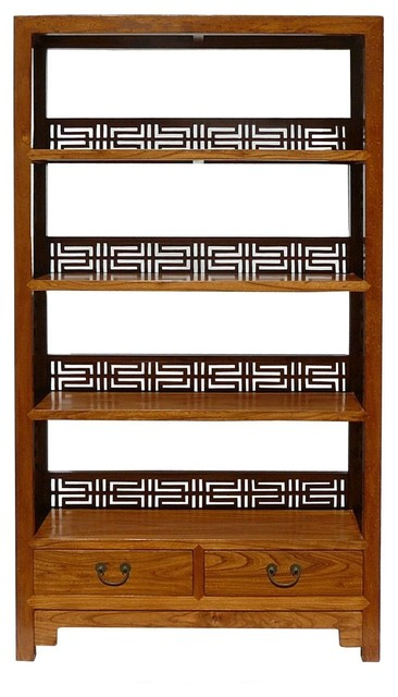 Chinese Old Solid Wood Happiness Carving Display Cabinet Book Shelf - Contemporary - Accent ...
