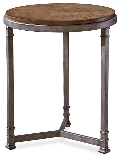 Zin Home Maison Industrial Metal Leg And Wood Round Side