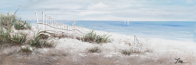 """Beach Vibes"" Hand Painted Canvas Art, 60""x20"""