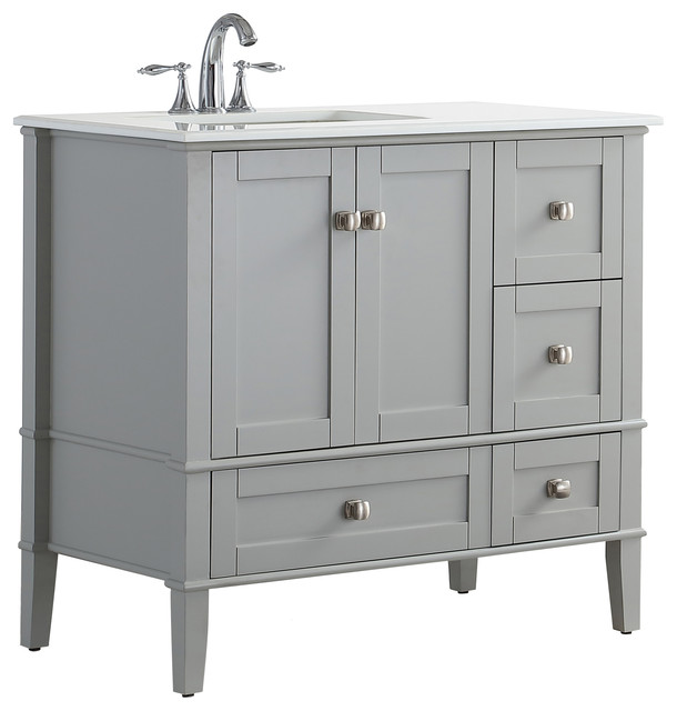Arley Bathroom Vanity Left Offset 36 Transitional Vanities And
