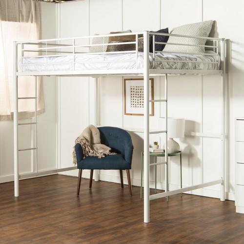 Delacora WE-BDDOL Full Steel Loft Bed - White