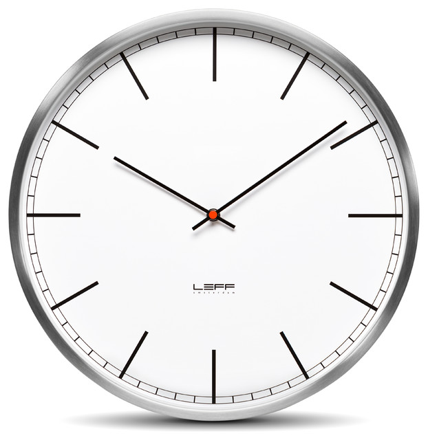 wall clock one45 stainless steel white index Wall Clocks by