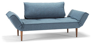 Zeal Daybed, Mixed Dance Light Blue, Dark Styletto Legs