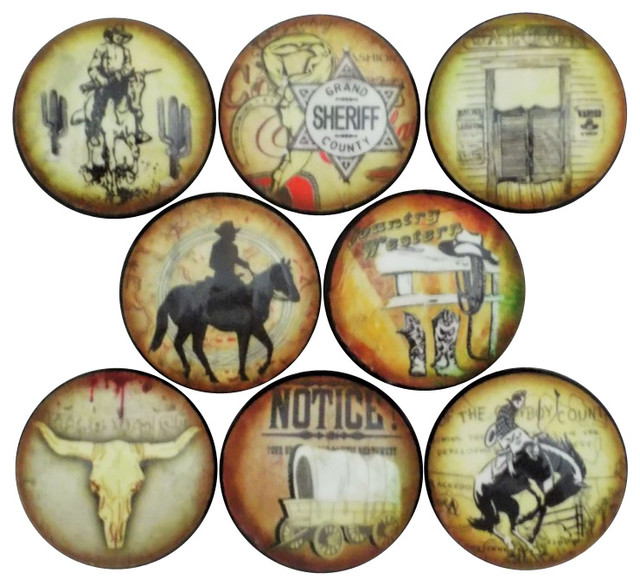 Old West Cowboy Cabinet Knobs, 8-Piece Set - Southwestern ...