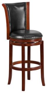 "30""H Dark Chestnut Wood Bar Stool With Black Leather Swivel Seat"