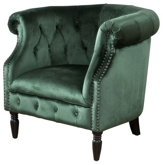 Aries New Velvet Tub Style Club Chair, Emerald