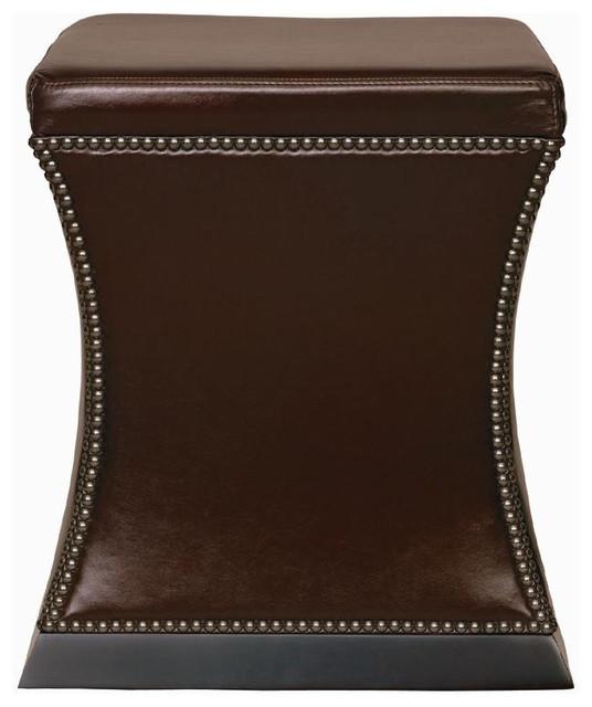 eliana hollywood regency antique nickel brown leather ottoman - Brown Leather Ottoman
