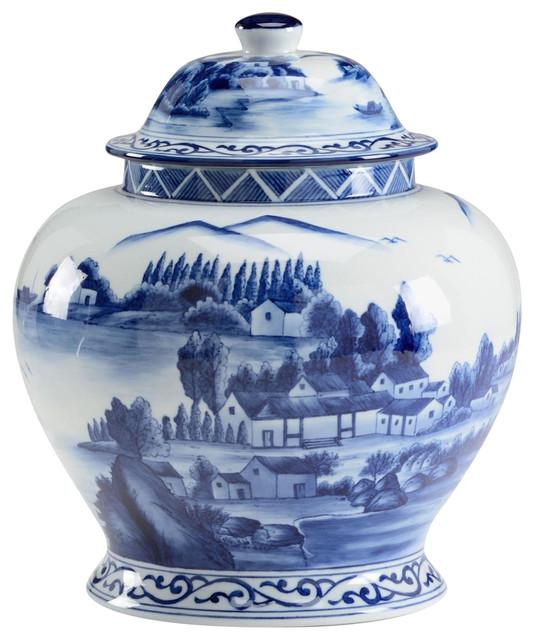 Ginger Jar Vase Chelsea House Blue White Asian Decorative Jars