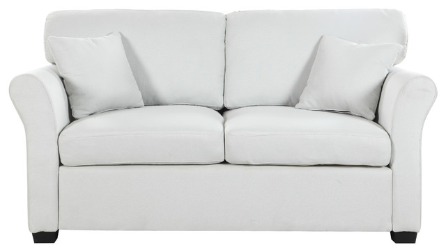 Traditional Ultra Comfortable Linen Fabric Loveseat, Beige.