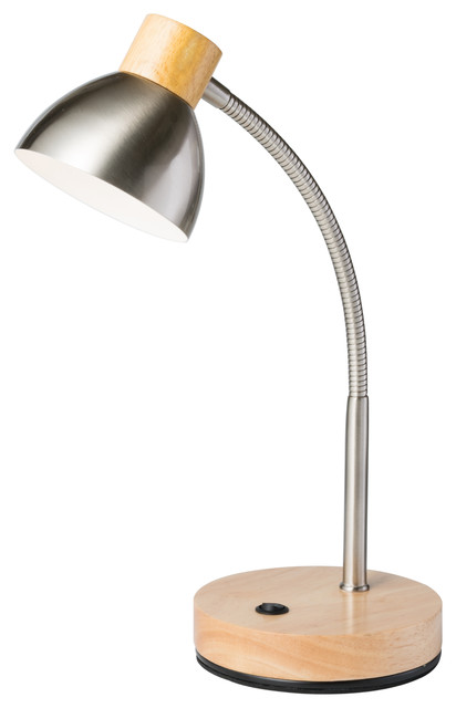 """13"""" Tall Metal Goose Neck Table Led Lamp, Cone-Shaped Shade, Natural Finish."""