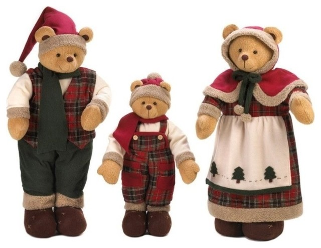 Holiday Bear 3-Piece Decor Family Set.