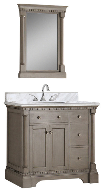 Fresca kingston 36 antique silver traditional vanity with for Decorplanet bathroom vanities