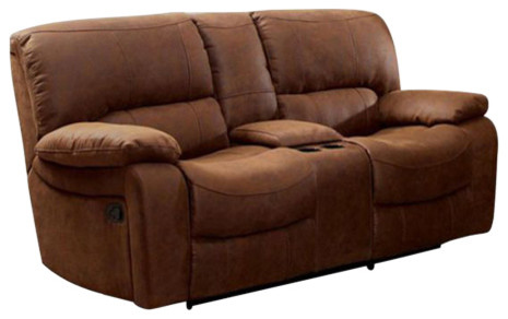 Wagner Motion Love Seat Transitional Style, Brown.