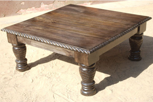 Unique Rustic Solid Wood Square Sofa Coffee Table