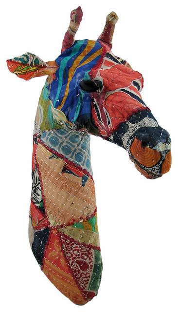 Recycled 20 Inch Fabric Covered Giraffe Head Wall Mount